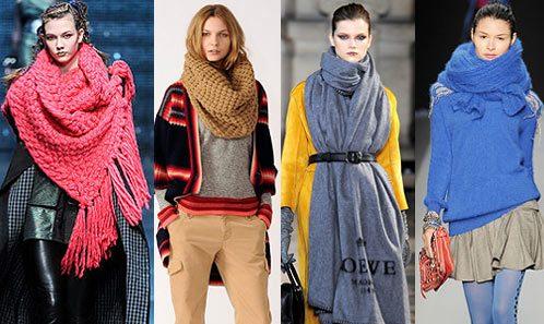 В моде различные вязаные шарфы