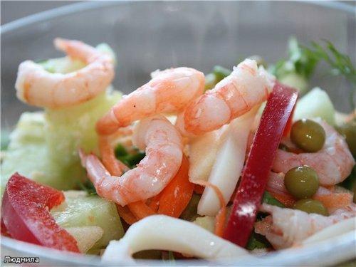 Салат кальмарами креветками рецепт фото